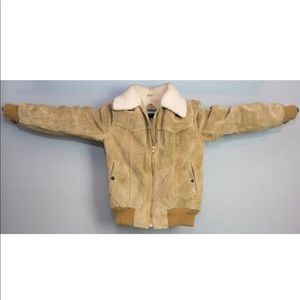 Vintage 80s Brown Tan Suede Leather Bomber Jacket